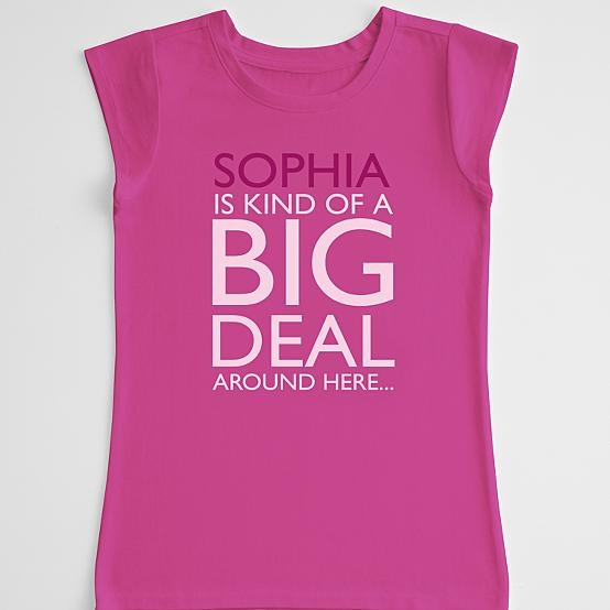 You'd have to have a very humble child to pull this kne off & nit let it go to their heads! unless it was a birthday oarty shirt? it says: Sophia is kind of a big deal around here. girl's t-shirt