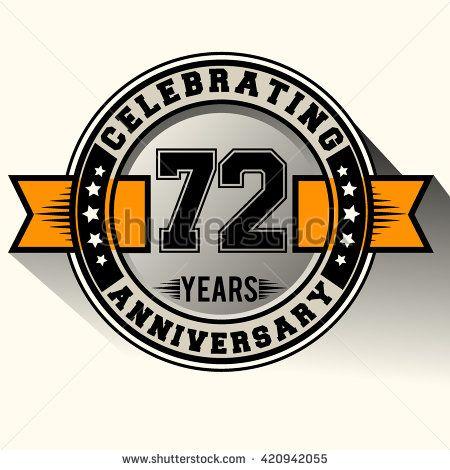 Celebrating 72nd anniversary logo, 72 years anniversary sign with ribbon, retro design. - stock vector