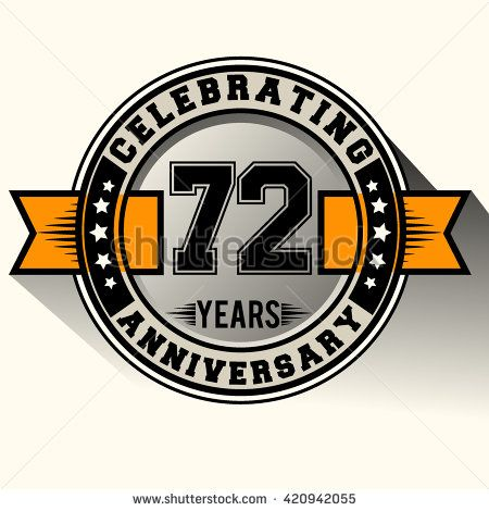 Celebrating 72nd anniversary logo, 72 years anniversary sign with ribbon, retro design. - stock vector