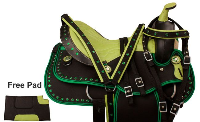 "Our synthetic saddles are going FAST! They're the perfect gift for any rider this holiday season! Check out our green crystal synthetic saddle (model 9848) for only $199.99! Hurry! Only sizes 14-16"" are left!  #saddle #saddles #green #limegreen #western #westernsaddle #tack #tackset #horsetack #westerntack #cowboy #cowgirl #country #horse #horses"