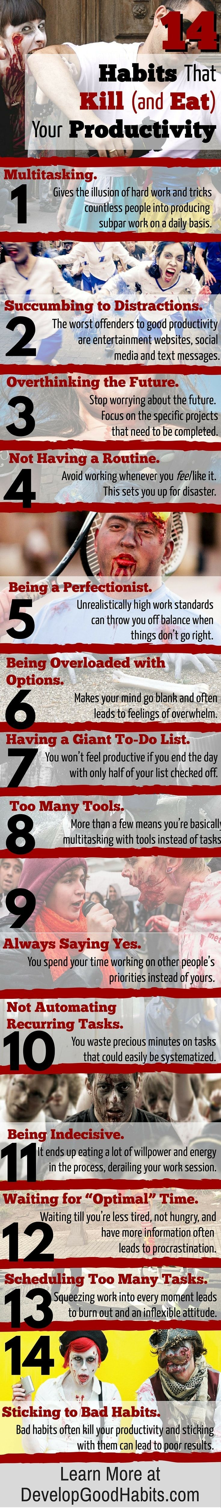 14 Habits that Kill Your Productivity and Time Management Efforts