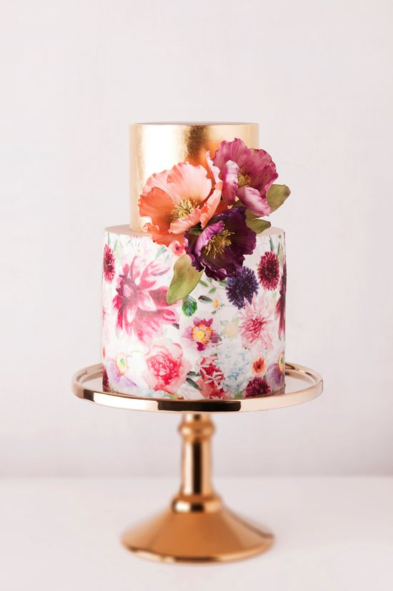 Gold and pink hand-painted floral wedding cake