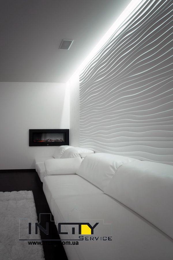 гипсовые панели волны на стене