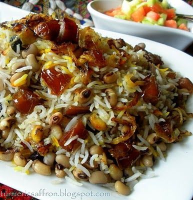 Turmeric and Saffron: Persian rice with black eyed peas and dates (count 3 dates/ person max. That's a fruit serving.)
