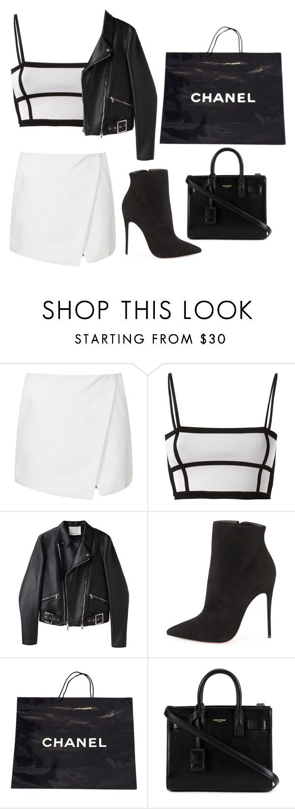 """""""Untitled #917"""" by arianas12 ❤ liked on Polyvore featuring Topshop, Balmain, 3.1 Phillip Lim, Christian Louboutin, Chanel and Yves Saint Laurent"""