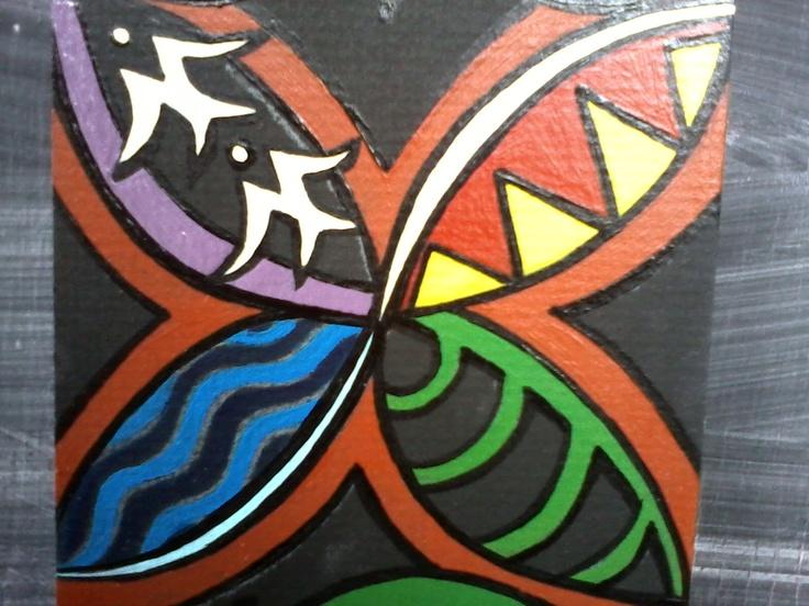 "detail of ""Waiata's Graduation Painting""    Chrissie Sullivan     Little Taniwha"
