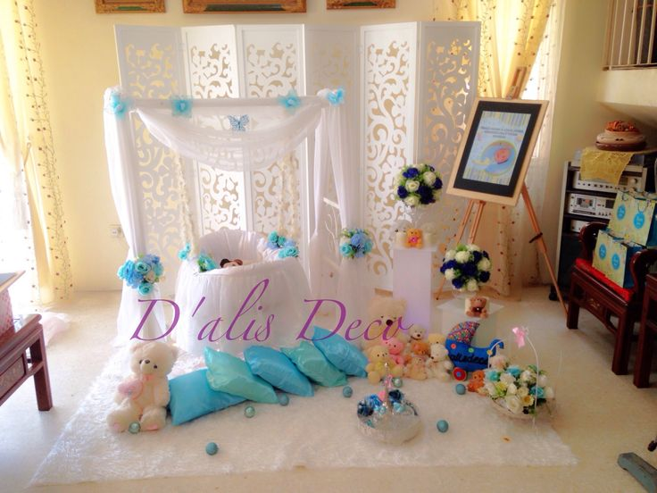 Simple and simple deco buaian berendoi for baby boy for Baby name ceremony decoration