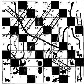 ... & White doodle snakes and ladders | Game Boards - Snakes & Ladd