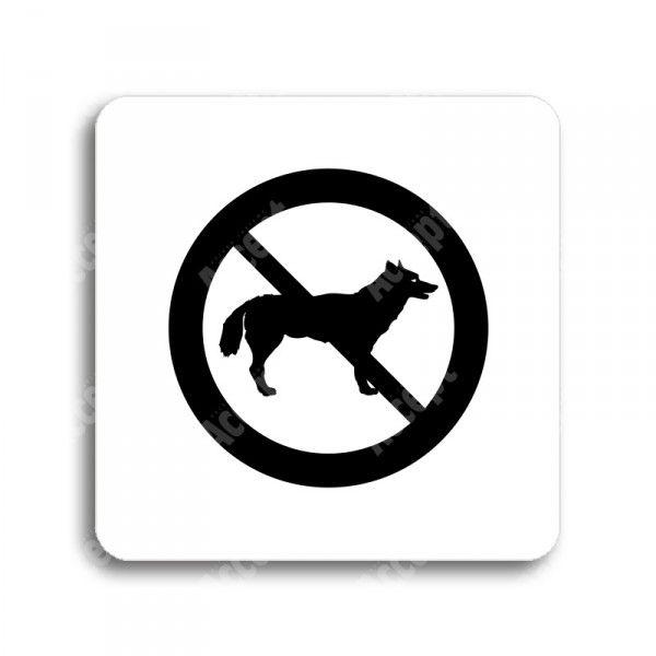 """Piktogram """"zákaz vstupu se psem"""" - bílá tabulka - černý tisk bez rámečku"""