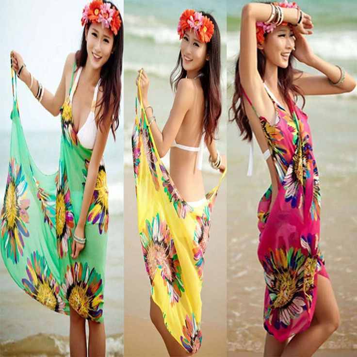 Women Summer Fashion Chiffon Wrap Dress Sarong Beach Cover-up Bikini Wrap Skirt  #unbranded #SummerBeachdress