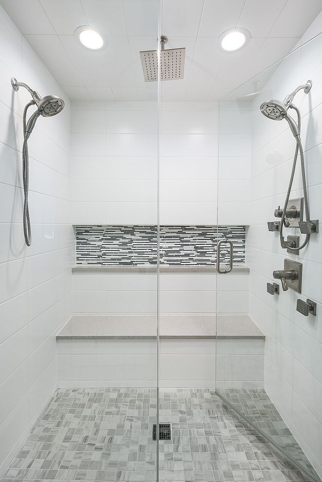 Big Shower Tiles The Shower Tiling Is Simple And Classic It Won T Go Out Of Style Shower Bathroom Tile Designs White Bathroom Tiles White Bathroom Interior