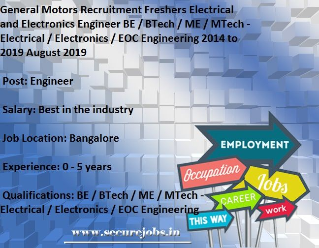 General Motors Recruitment Freshers Electrical And Electronics