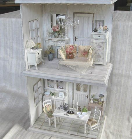 279 best miniature nunu 39 s house images on pinterest dollhouses doll houses and miniature food Shabby chic style interieur