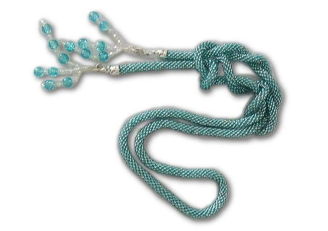 Turqouise sea blue long necklace lariat type beads w My Lace Space na DaWanda.com