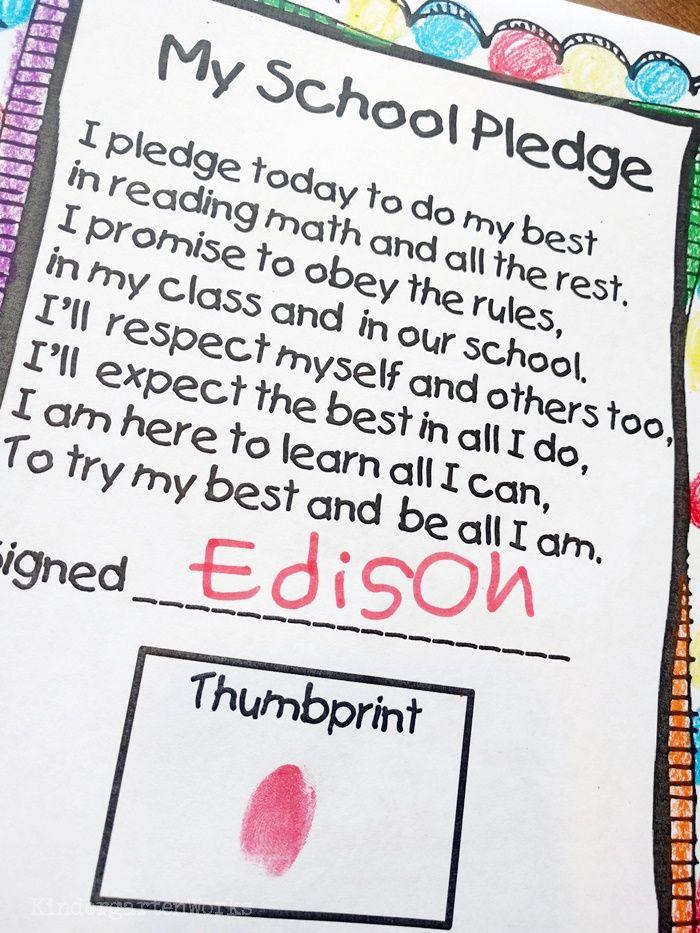 No David Activities and Quick Freebies - free thumbprint school pledge and activities