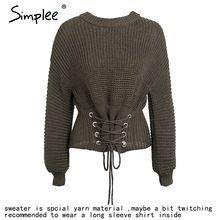 Simplee Lace up warm sweater suéter de punto Las Mujeres cinturón negro de manga larga jumper Otoño invierno 2017 tejer femme tirón(China (Mainland))