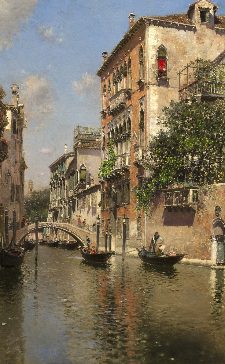 19th century painting of a venetian canal by martin rico y ortega