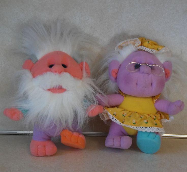 PLAYSKOOL HOBNOBBINS GRANDPA FUZZY & GRANDMA HAPPY HUGS1989 TROLL PLUSH  #Playskool