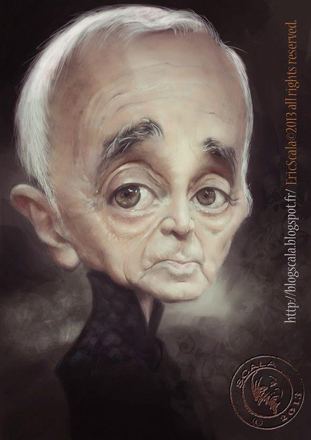 Caricatura de Charles Aznavour.