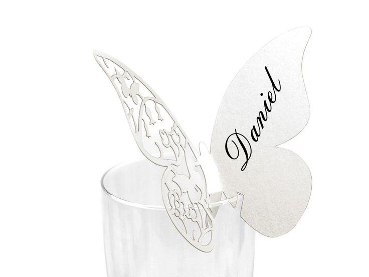 Jmenovka na skleničky 75x105 mm motýl
