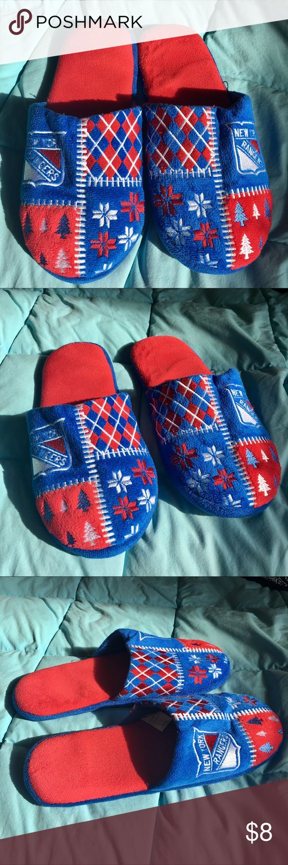 "NY Rangers Slippers NHL branded NY Rangers ""Ugly Sweater"" slippers. Purchased at the NHL store. NHL Shoes"