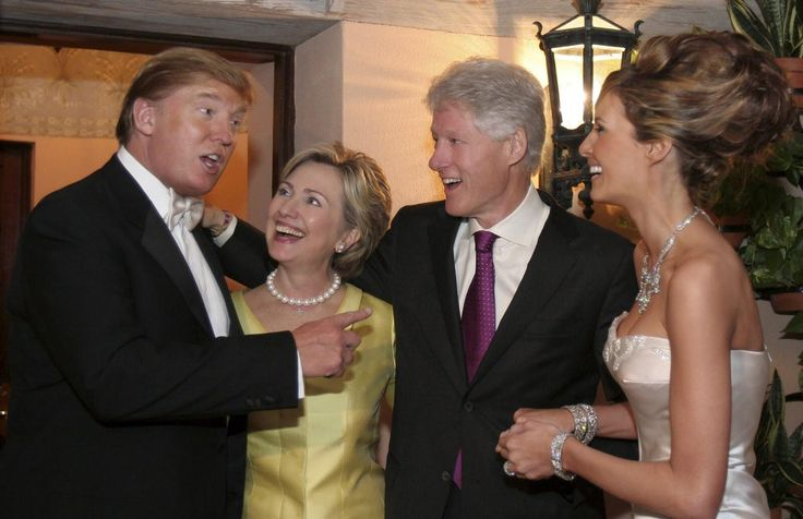 Palm Beach Florida. 01/22/2005.Bill and Hillary Clinton greeting the newlyweds Donald Trump and Melanie Knauss on their wedding reception.