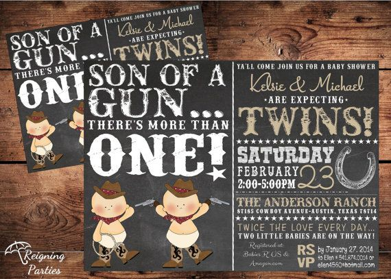 Western Twin Baby Shower Invitation  Digital by ReigningParties, $20.00