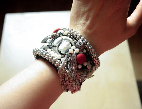 Black Red & Silver Fabric Bracelet Tribal Gypsy Beaded by PomPaw