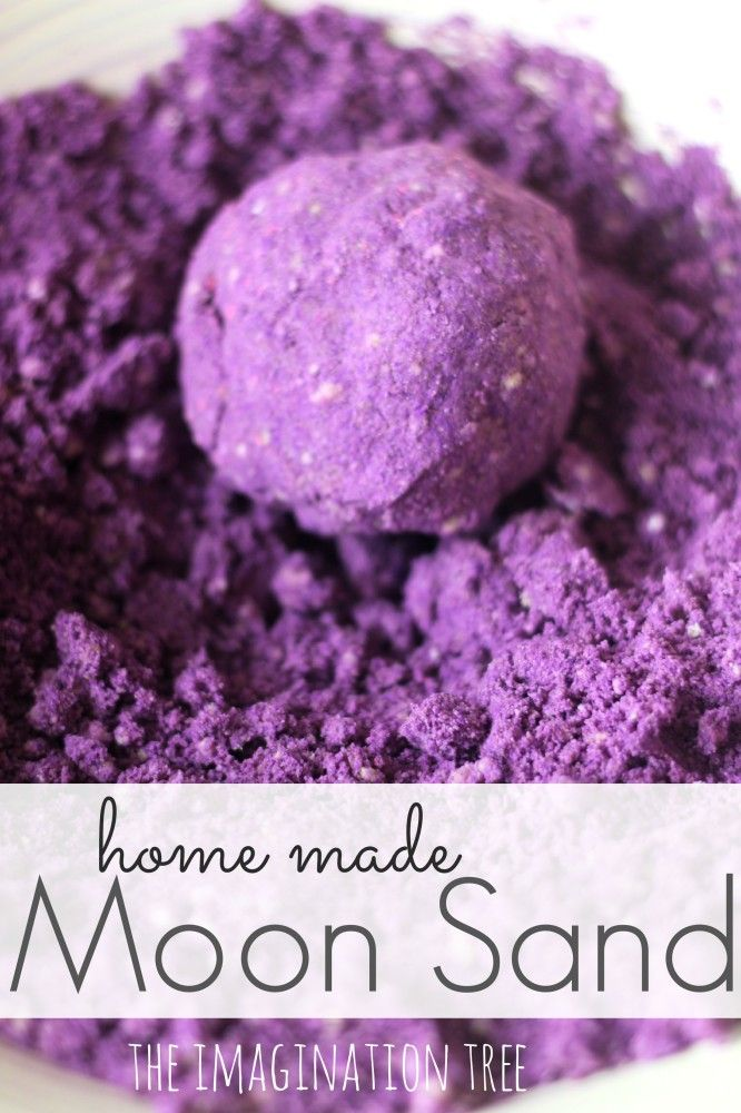 Homemade Moon Sand Recipe.  4 cups play sand 2 cup corn Starch (corn flour in UK) 1 cup water 2 tbsp coloured powder paint (we divided our plain mix into two so we could make both pink and purple) A huge sprinkling of glitter