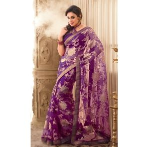 Purple Brasso Saree with Patch work and Lace work