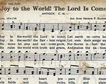Joy to the World Christmas Sheet Music Christian Hymn Hymnal Digital Download Image Vintage ...