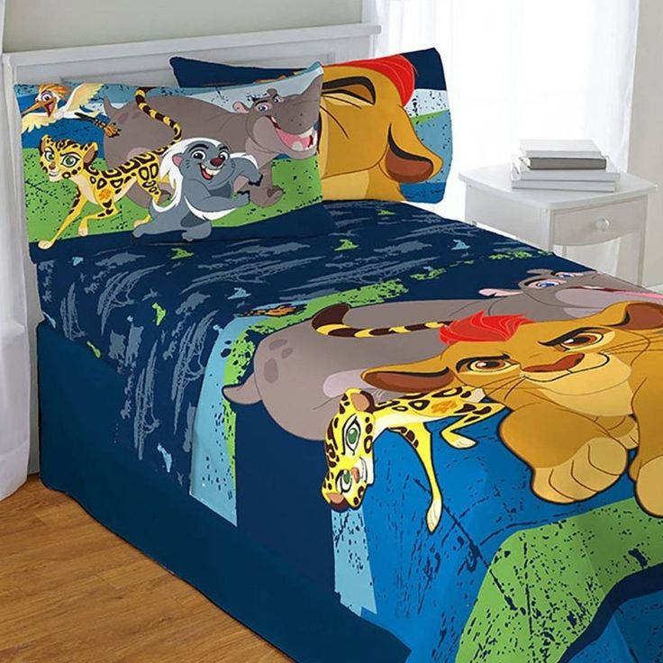 4pc Disney Lion Guard Twin Bedding Set Lion King All For One Comforter and Sheets //Price: $87.69 & FREE Shipping //     #bedding
