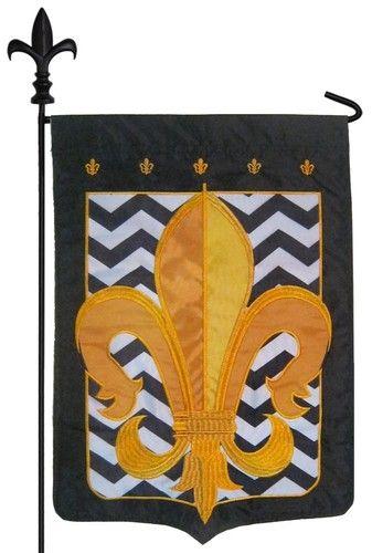Gold Fleur de Lis with Black and White Chevrons Double Applique Garden Flag