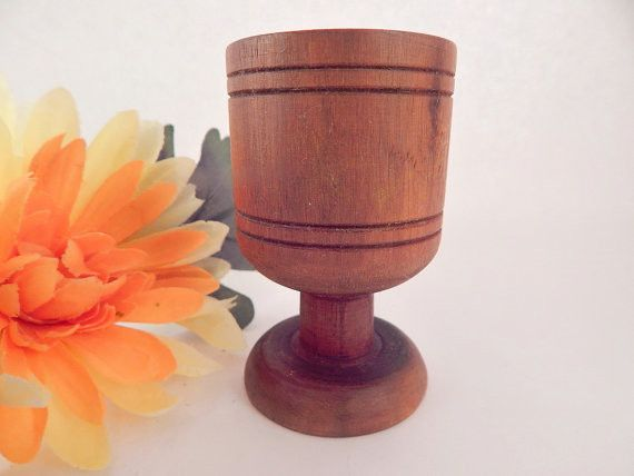Wooden Cup Turned Wood Pedestal Tasting Cup Toothpick Holder Shot Glass Kitchen Table Accessory Mid-Century Artisan Vintage Home Decor