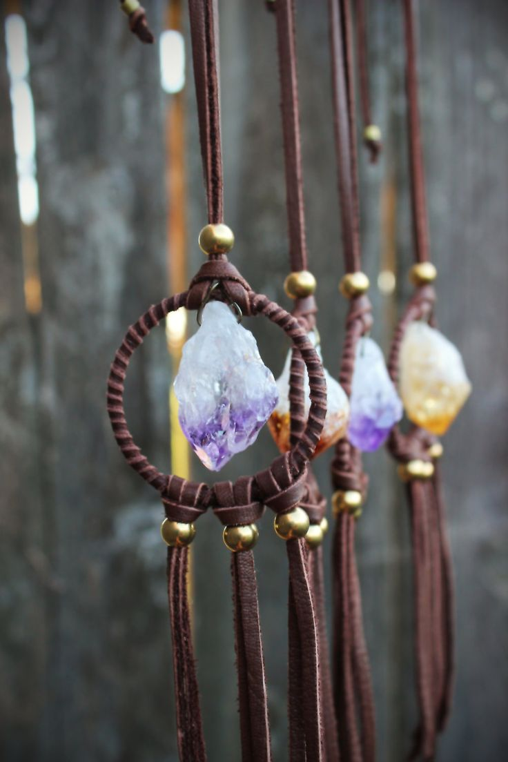 Stone Dream Catcher, Amethyst Leather Necklace - WildPeopleFreeSpirit on etsy