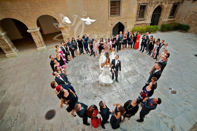 Doves release at the castle courtyard, Bojnice castle wedding, Slovakia, Europe.