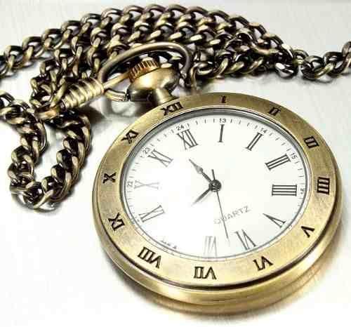 relógio de bolso liso na cor bronze