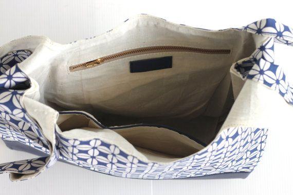 Batik Canvas Shopper Tote. Leather Shopper Tote. by VellePurse