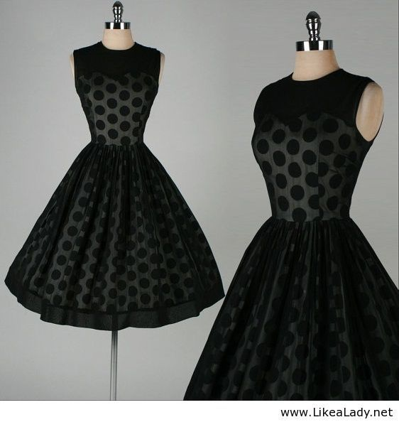 1950's Black Chiffon Polka Dot Dress