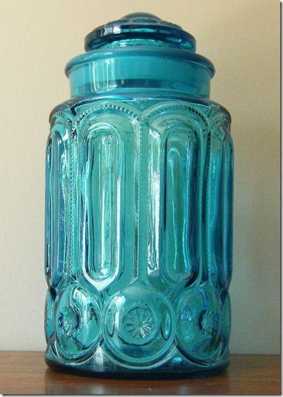 Aqua glass cookie jar