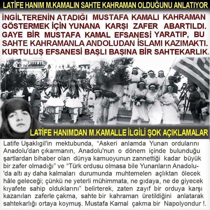 """Latife Hanım, M.Kemal Paşa'dan nakille ne demişti?! Hulâsaten hatırlayalım ve bilgi tazeleyelim: HurriyetGazetesi_TevfikRustuArasinHatiralari  """"Yunan'ı Denize Döktük"""" Bir Masal mı?  """"Kocama dışarıdan bir gözle ve üç farklı Batılı düşünce geleneği çerçevesinde baktığımda, vardığım sonuç şu oldu: Gazi, büyük bir asker değil; beceriksiz bir diplomat ve hırslı, mevki düşkünü bir adamdı. Bu analizimin sonuçlarını eski kocamdan başka kimseyle paylaşmadım. Onu çok ama çok severdim. Mason Atatürk"""