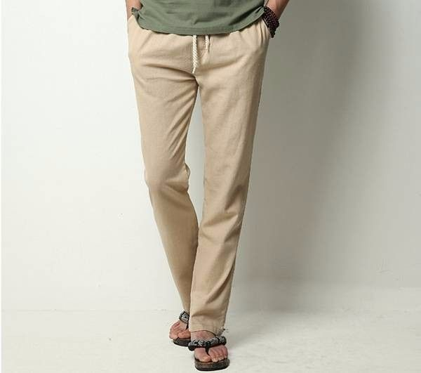 Mens Linen Solid Color Casual Soft Long Trousers Flax Leisure Pants Online-NewChic