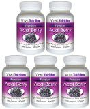 PREMIUM ACAI (5 Bottles) - High Potency, Pure Acai Berry Supplement. The All-Natural Diet, Weight Loss, Colon Cleanse, Detox, Antioxidant Superfood Product.