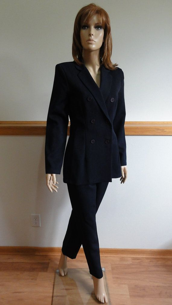 Womens 2 Pc Pants Suit Size 9 Navy Blue Double Breasted