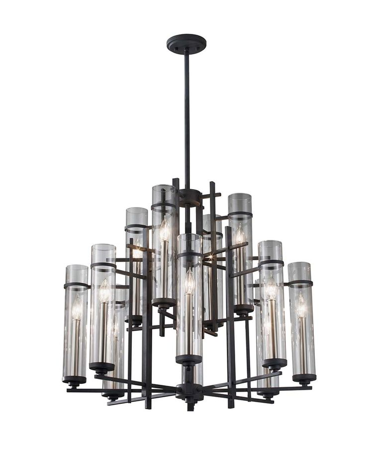 Murray Feiss Lighting 12 Light Ethan Chandelier In Antique Forged Iron /  Aged Walnut