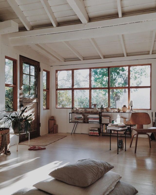 If there's room for an extended breakfast nook below second floor addition. Lovely natural wood windows and exposed ceiling.