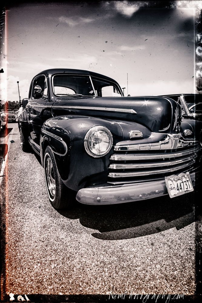 12x18 in. Black and White Hot Rod Ford Poster Vintage Garage Art
