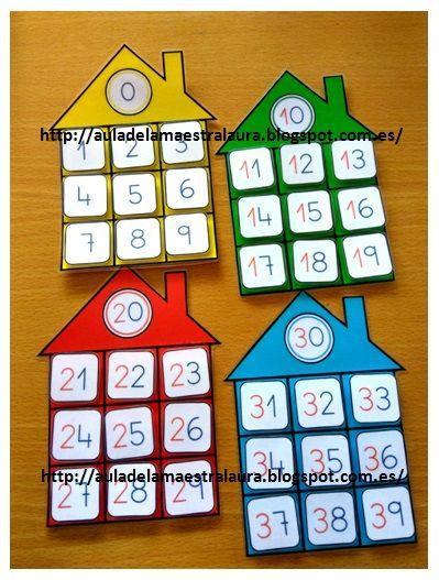 Hoy os muestro más material ABN:   CASITAS DE LAS FAMILIAS             En clase trabajamos la tabla del 100 con ayuda del proyector y la p...
