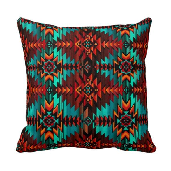 Southwest Aztec Throw Pillow Cover Red and Teal by PrimalVogue, $30.00 *Home Pinterest ...