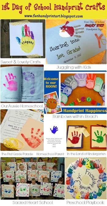 1st Day of School Handprint Crafts {Round Up} from Handprint & Footprint Art